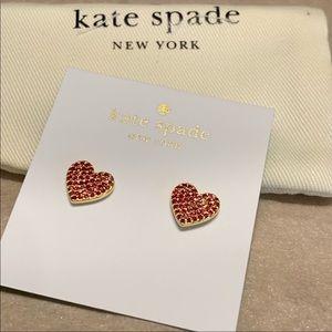 Kate Spade Gold-tone Pave Heart Stud Earrings!